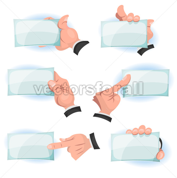 Comic Hands Holding ID Cards Signs - Vectorsforall