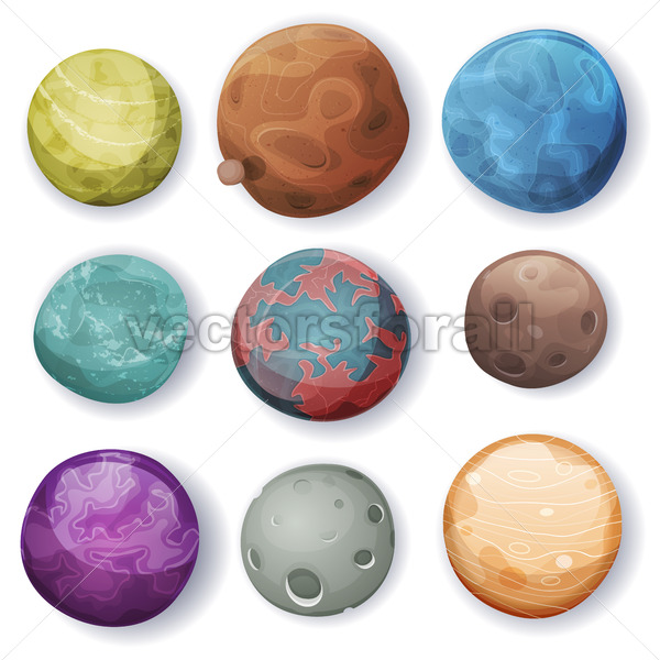 Comic Planets And Space Asteroids Set - Vectorsforall