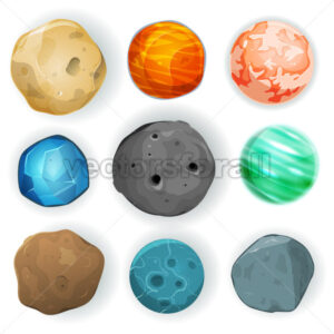 Comic Planets Set - Vectorsforall