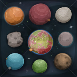 Comic Planets Set On Space Background - Vectorsforall