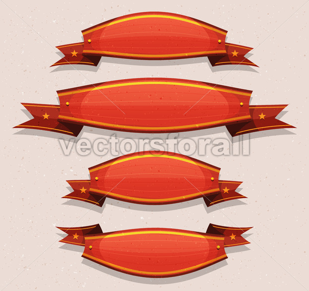 Comic Red Circus Banners And Ribbons - Vectorsforall