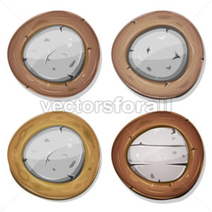 Comic Rounded Stone And Wood Viking Shields - Vectorsforall
