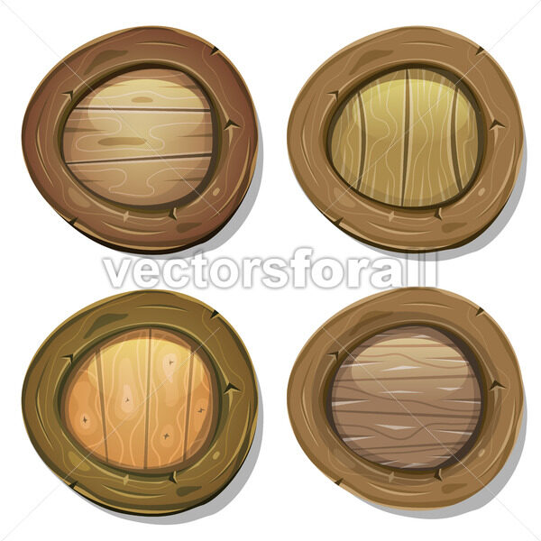 Comic Rounded Wood Viking Shields - Vectorsforall