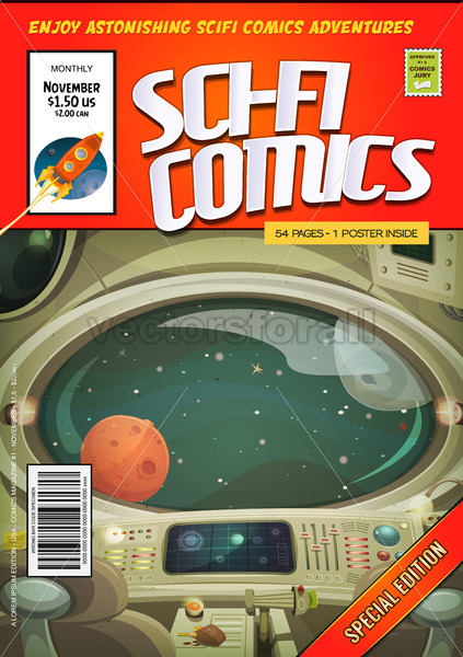 Comic Scifi Book Cover Template - Vectorsforall