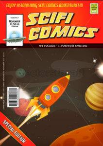 Comic Scifi Book Cover Template - Vectorsforall