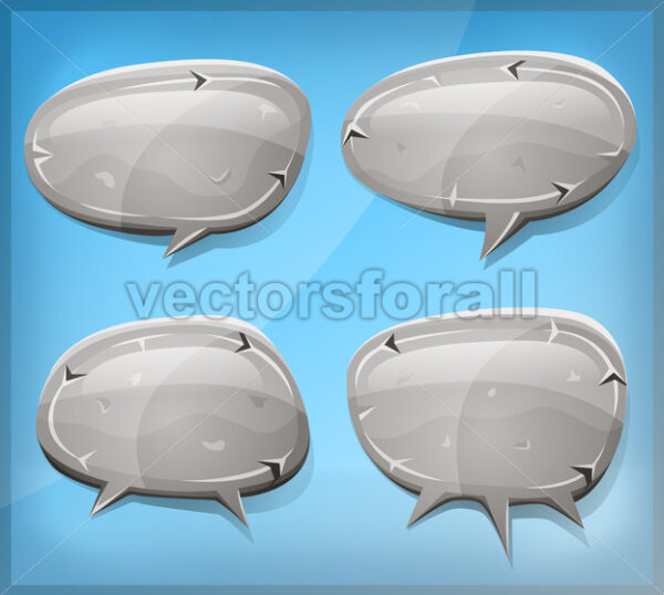 Comic Stone And Rock Speech Bubbles - Vectorsforall