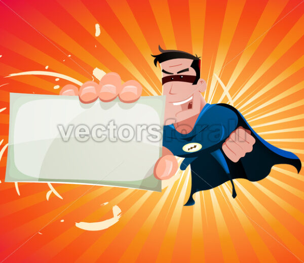 Comic Super Hero Holding Sign - Vectorsforall