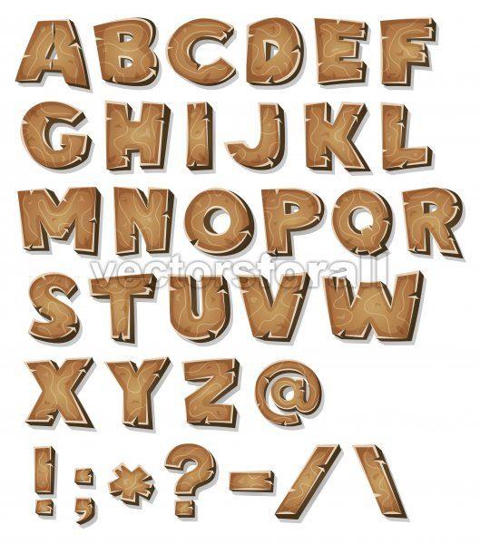 Comic Wood Alphabet - Vectorsforall