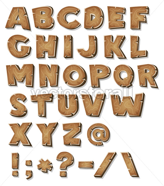 Comic Wood Alphabet - Vectorsforall