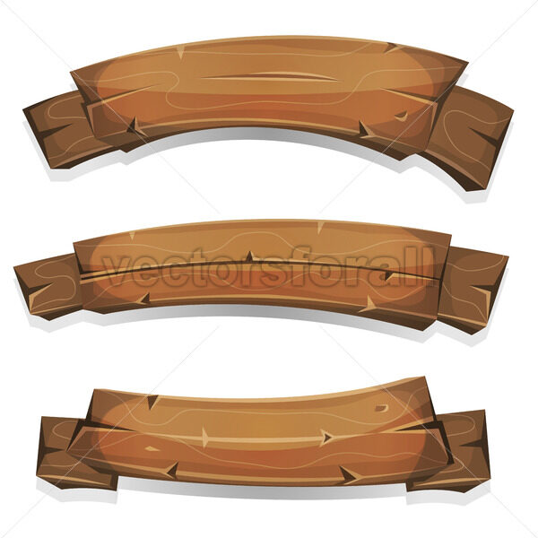 Comic Wood Banners And Ribbons - Vectorsforall