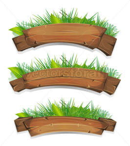 Comic Wood Banners With Plants Leaves - Vectorsforall
