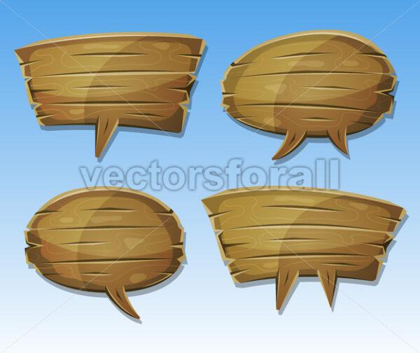 Comic Wood Speech Bubbles Set - Vectorsforall