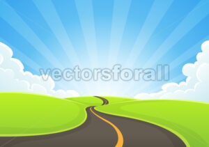 Country Road On Blue Sky And Sunbeams - Vectorsforall