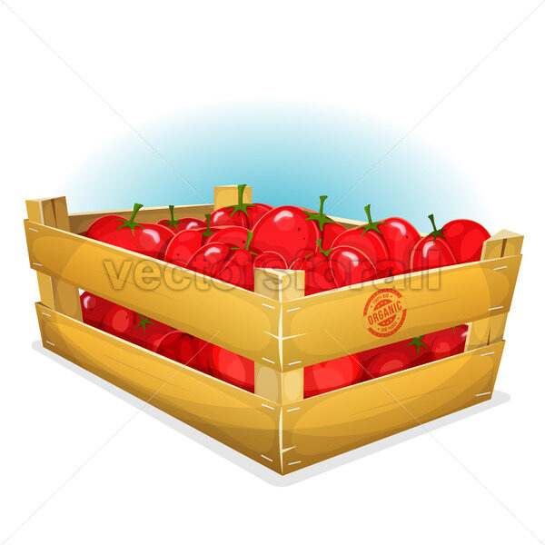Crate With Tomatoes - Vectorsforall