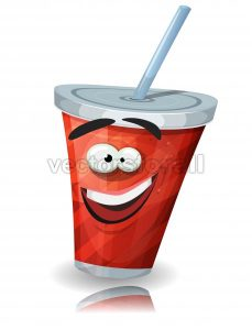 Cup Of Soda Character With Straw - Vectorsforall