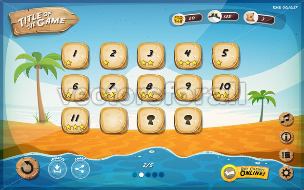 Desert Island Game User Interface Design For Tablet - Vectorsforall
