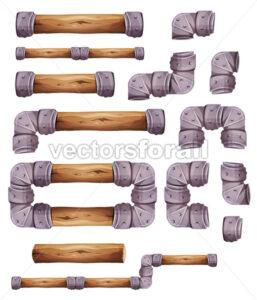 Design Stone And Wood Elements For Platform Game Ui - Vectorsforall