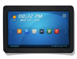 Digital Tablet PC With OS Icons - Vectorsforall