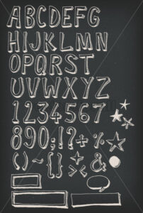 Doodle Complete Alphabet Set On Chalkboard - Vectorsforall