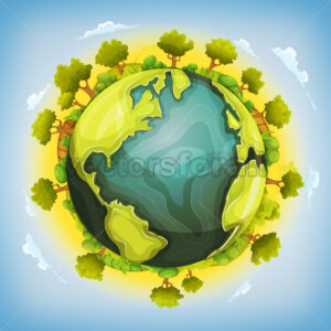 Earth Planet With Forest And Agriculture Elements Around - Vectorsforall