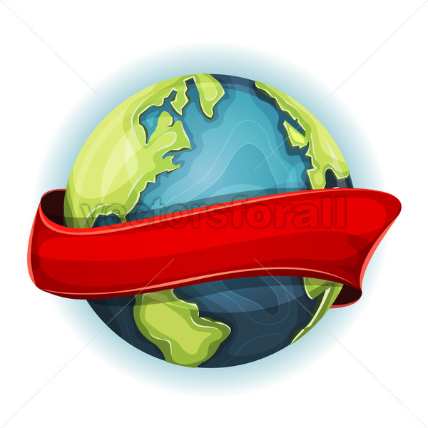 Earth Planet With Ribbon - Vectorsforall