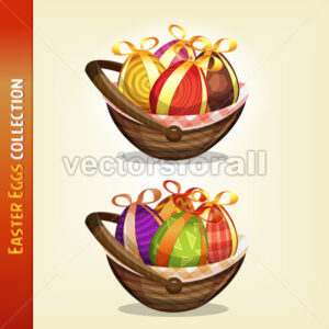 Easter Eggs Inside Baskets - Vectorsforall