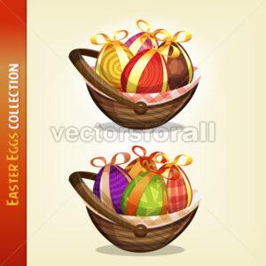 Easter Eggs Inside Baskets - Vectorsforall
