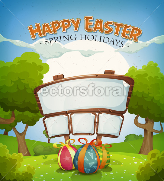 Easter Holidays And Spring Landscape With Sign - Vectorsforall