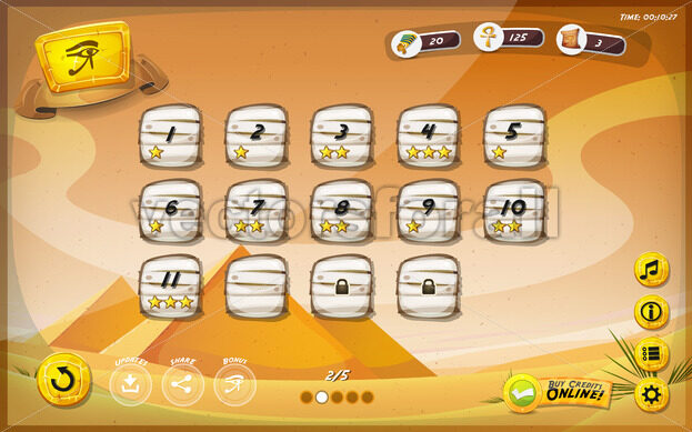 Egyptian Pyramid GUI Design For Tablet - Vectorsforall