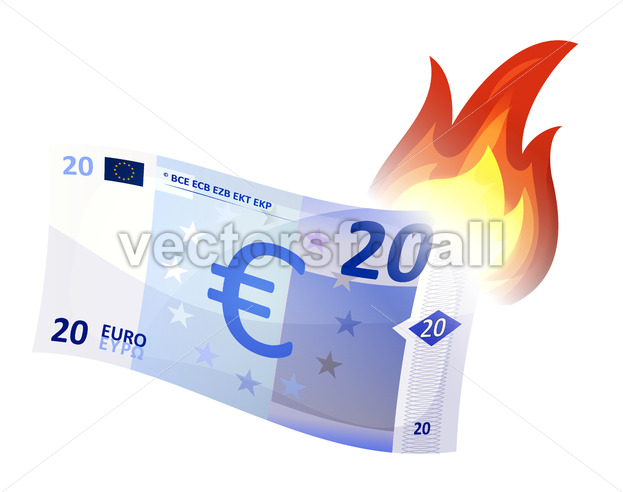 Euro Bill Burning - Vectorsforall