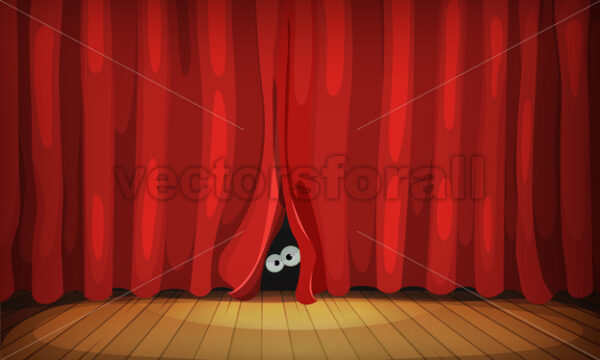 Eyes Behind Red Curtains On Wood Stage - Vectorsforall