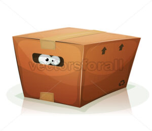 Eyes Inside Cardboard Box - Vectorsforall
