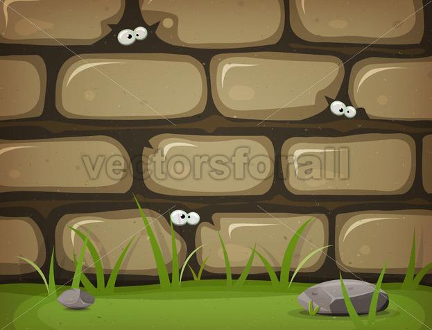 Eyes Inside Rural Stone Wall - Vectorsforall