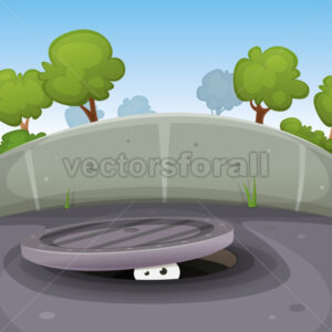 Eyes Spying From Manhole - Vectorsforall