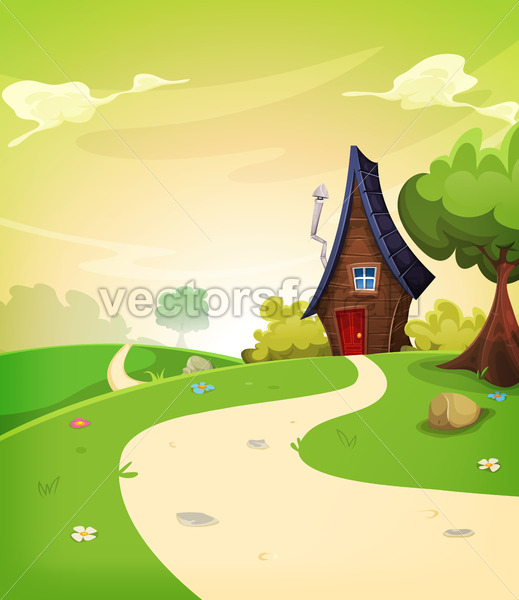 Fairy House Inside Spring Landscape - Vectorsforall