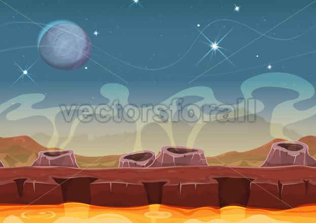 Fantasy Alien Planet Desert Landscape For Ui Game - Vectorsforall