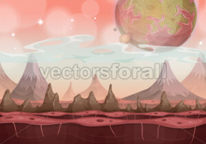 Fantasy Sci-fi Alien Landscape For Ui Game - Vectorsforall