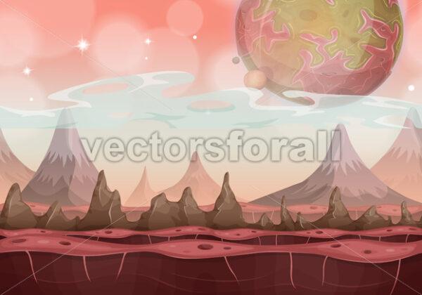 Fantasy Sci-fi Alien Landscape For Ui Game - Vectorsforall
