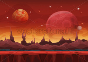Fantasy Seamless Sci-fi Martian Landscape For Ui Game - Vectorsforall