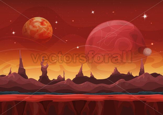 Fantasy Seamless Sci-fi Martian Landscape For Ui Game - Vectorsforall