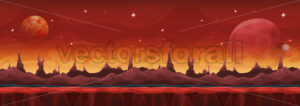 Fantasy Wide Sci-fi Martian Background For Ui Game - Vectorsforall