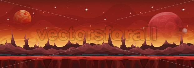 Fantasy Wide Sci-fi Martian Background For Ui Game - Vectorsforall
