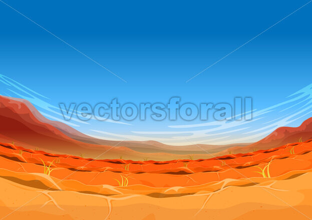 Far West Desert Landscape For Ui Game - Vectorsforall