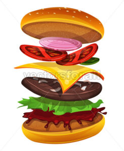 Fast Food Burger Icon With Ingredients Layers - Vectorsforall