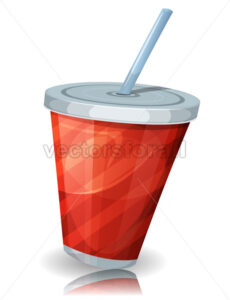 Fast Food Cup Of Soda With Straw - Vectorsforall