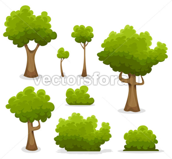 Forest Trees, Hedges And Bush Set - Vectorsforall