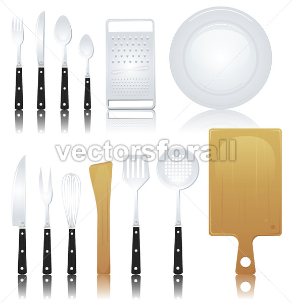 Fork, Knife And Various Kitchenware - Vectorsforall