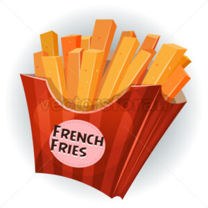 French Fries Inside Box - Vectorsforall