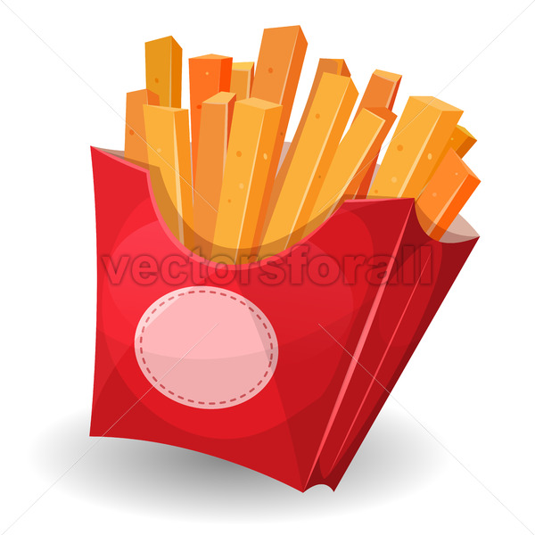 French Fries Inside Red Package - Vectorsforall