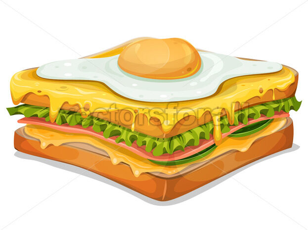 French Sandwich With Fried Egg - Vectorsforall